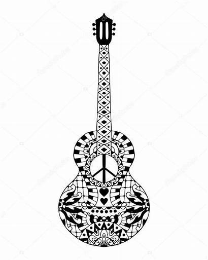 Guitar Hippie Drawn Acoustic Colouring Stress Anti