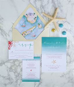 beach watercolor invitations with custom wedding map With minted beach wedding invitations