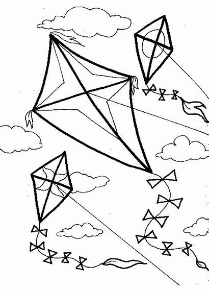 Coloring Pages Wind Kite Kites Flying Printable