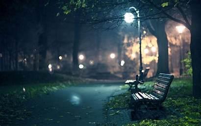 Night Walk Park Dark Street Rain Evening