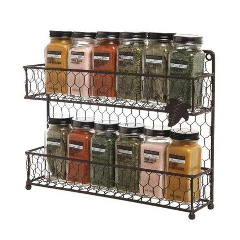 rustic brown dual tier wire spice rack jars storage organizer mygift