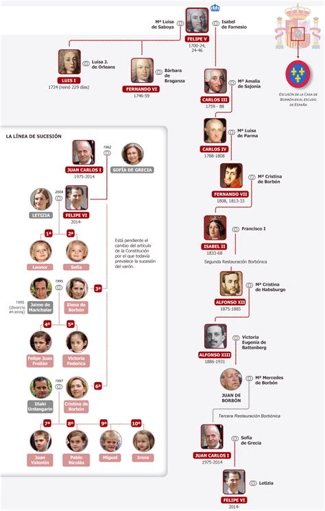 dinastia borbon en espana  linea sucesoria media el pais