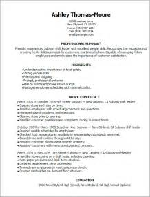 resume objective for subway professional subway shift leader templates to showcase your talent myperfectresume