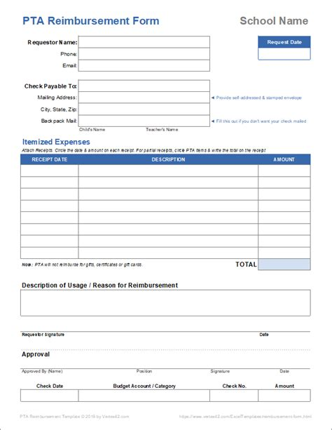 expense reimbursement form templates