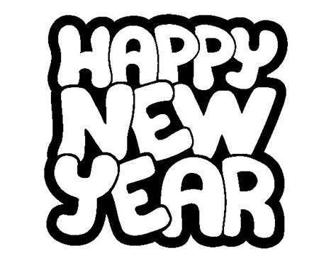 Kleurplaat Happy New Year by Happy New Year Coloring Page Coloringcrew