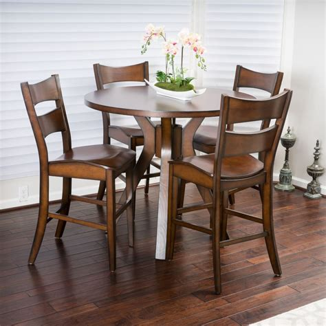 circle dining table set casual 5 piece round counter height brown wood dining set