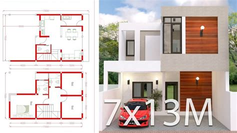House Plans 7x12m with 4 Bedrooms Plot 8x15 Sam House