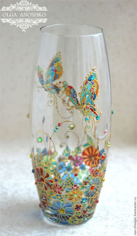 Painting A Glass Vase by Vase Quot Flying Butterfly Quot Stained Glass Painting заказать