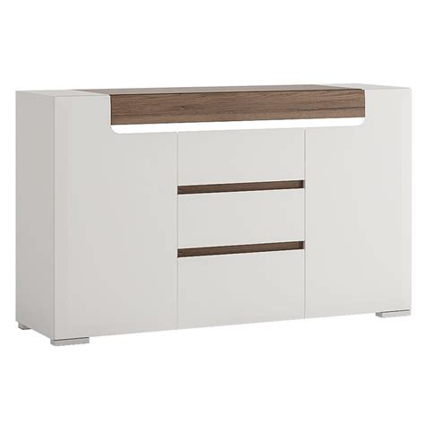 White Gloss And Oak Sideboard by White Gloss 2 Door 3 Drawer Sideboard With Oak Effect