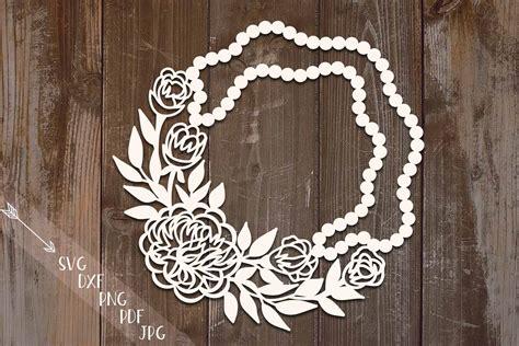 pearls floral peonies circle wreath monogram svg dxf  cut