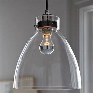 Minimalist glass pendant with an industrial design