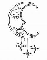 Coloring Moon Stars Victorian Sun Printable Bathroom sketch template