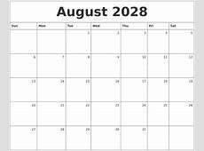 August 2028 Monthly Calendar