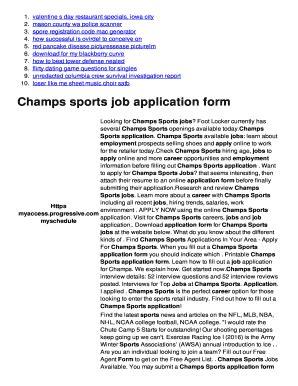 printable job application  champs    print