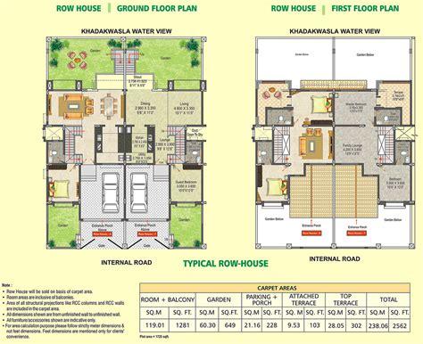 row home plans row house floor plan dsk meghmalhar phase 2 1 bhk 2 b