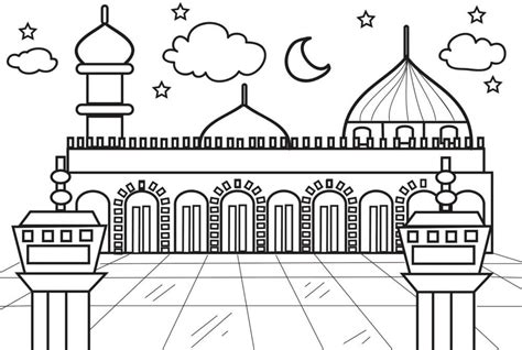 gambar mewarnai masjid hitam putih