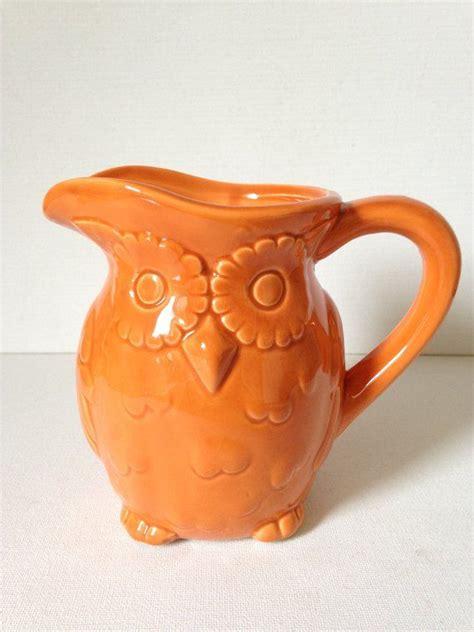 Empty the slop from your favorite battered, chipped mug (lose man points(tm) if washed first). Vintage Orange Owl Creamer | Cottage kitchen decor ...