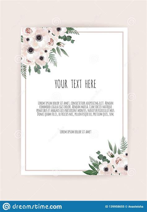 Botanical Wedding Invitation Card Template Design White