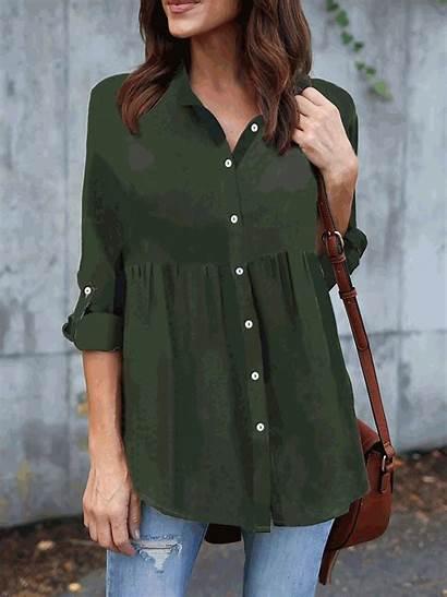 Casual Shirts Collar Shawl Polyester Justfashionnow Blouses