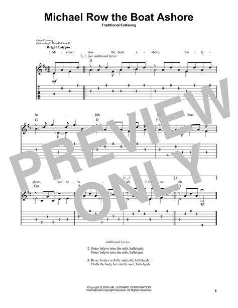 Michael Row The Boat Ashore Easy Chords by Michael Row The Boat Ashore By Phillips Guitar