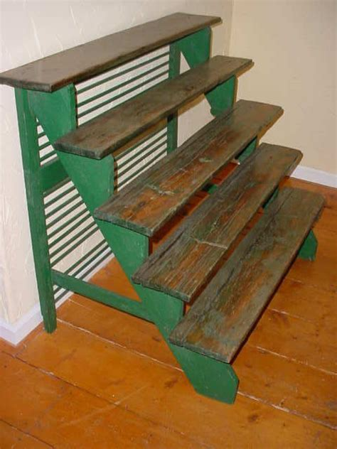 vintage  tier stair step wood plant display stand kedai