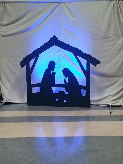 christmas stage design cardboard cutout manger