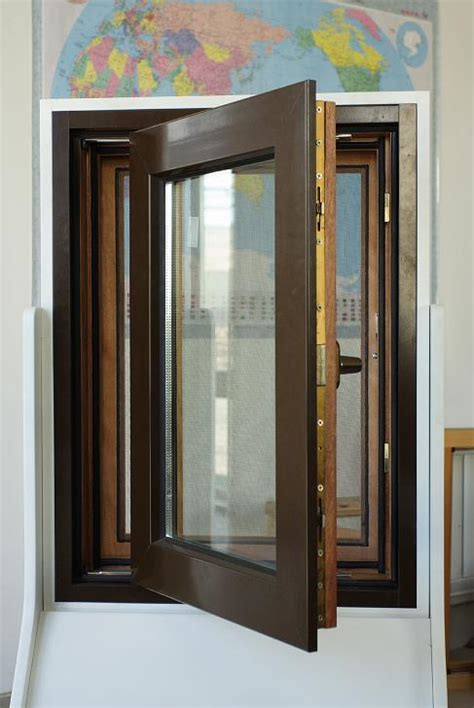 china american crank handle  swing solid woodaluminium clad solid wood windows china