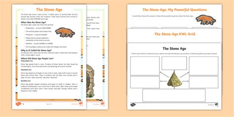 * New * Ks2 The Stone Age Research Activity Pack  Lks2 Topics