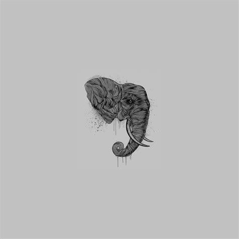 ah elephant art dark illust drawing animal papersco