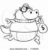Bank Lizard Cartoon Coloring Robbing Clipart Money Outlined Vector Thoman Cory Royalty Regarding Notes sketch template