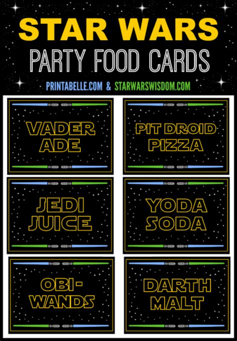 star wars party food cards party printables games