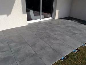 Carrelage Escalier Exterieur Antiderapant : dalle luna carrelage ext rieur 2 cm anthracite effet b ton carra france ~ Dallasstarsshop.com Idées de Décoration