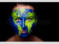 Girl with a painted map of World on his face Closeup