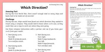 Which Direction? Worksheet  Worksheet  Compass Point, July Amazing Fact