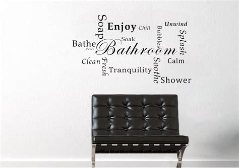 bathroom tranquility white text quotes wall stickers