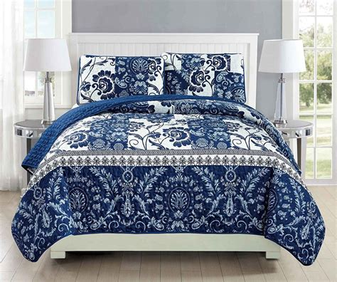 Navy Blue Coverlet by Mk Collection 3pc Bedspread Coverlet Quilted Floral White