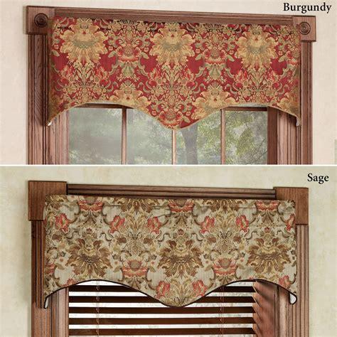 wrap around curtain rod como tapestry fabric scalloped window valance