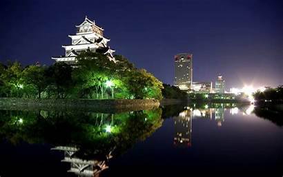 Japan Night Hiroshima Wallpapers Japanese Castle Cityscape