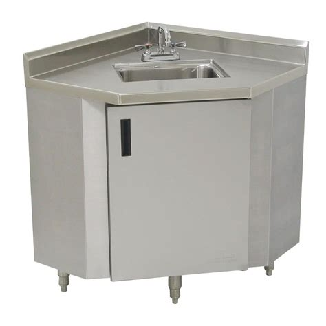 advance tabco shk 2441 stainless steel corner sink cabinet