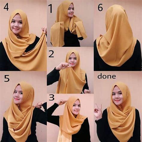 tutorial hijab pashmina wajah bulat simple