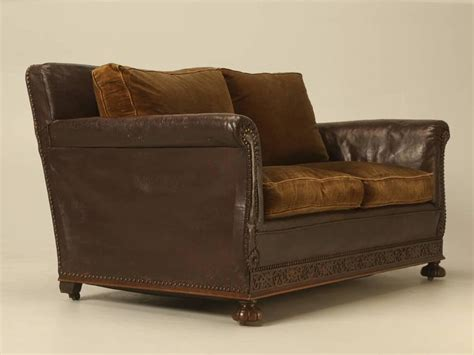 leather settees for sale antique leather and velvet settee from the 1930s at