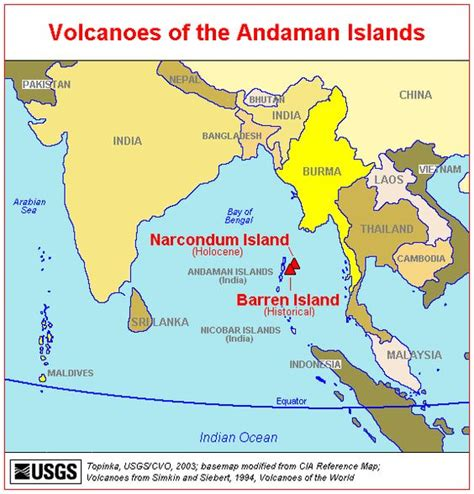 Map of Active Volcanoes of the Andaman Islands