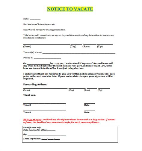 notice  vacate letters google docs ms word apple