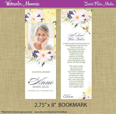 funeral memorial bookmark  prayer card printable