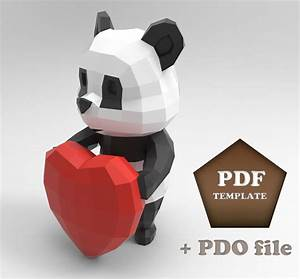 Cartoon Panda Papercraft Low poly Panda Papercraft panda