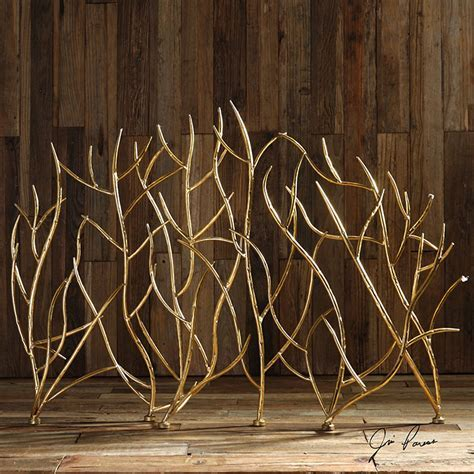 Gold Branches Decorative Fireplace Screen: Western Passion