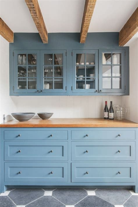 Blue Kitchen Cabinets with Butcher Block