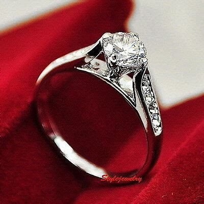 white gold plated made with swarovski crystal wedding engagement ring r109 ebay