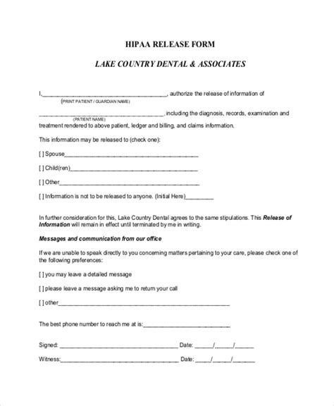 Privacy Release Form Template by Sle Hipaa Release Form 10 Free Documents In Pdf