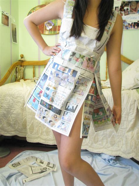 newspaper dress   recycle  paper dress